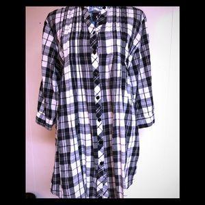 Plaid black and white blouse.